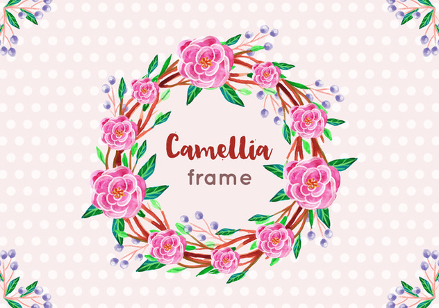 Free Vector Camellia Frame in Watercolor Style - Free vector #419259