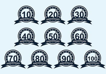 Anniversary Badge Vector Pack - vector gratuit #419319