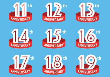 Anniversary logos with red ribbon - vector gratuit #419399
