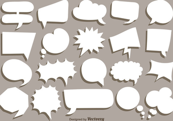 Vector Collection Of White Speech Bubbles - Kostenloses vector #419919