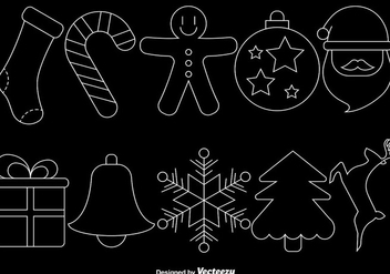Christmas Line Style Icons On Black Background, Vector Set - Free vector #419949