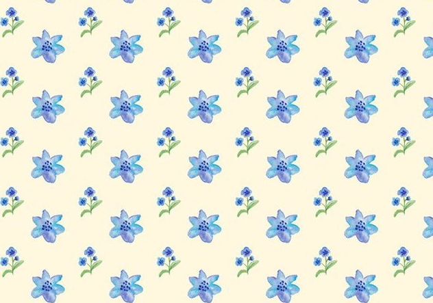 Watercolor Blue Flowers Free Vector Seamless Pattern - Free vector #420009