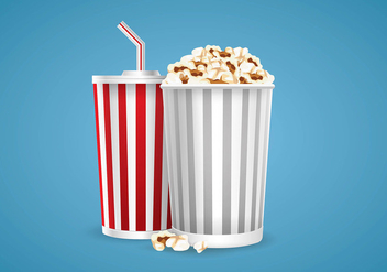Illustration of Popcorn and Soda Vector - Free vector #420089