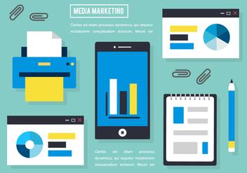 Free Flat Media Marketing Vector Elements - Kostenloses vector #420199