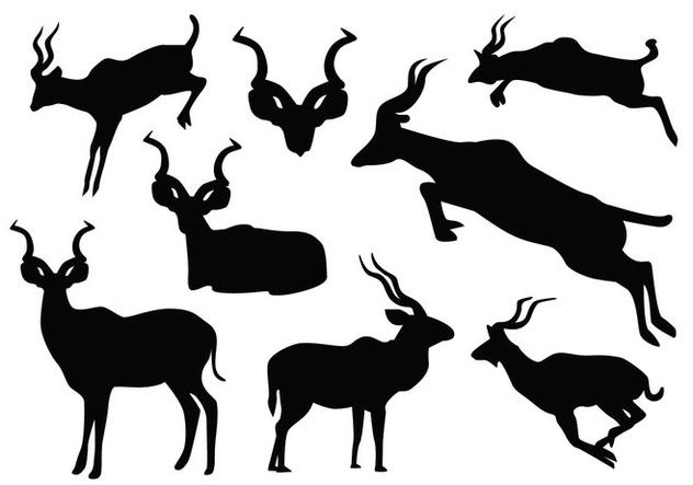 Jumping Kudu Silhouette - Free vector #420269