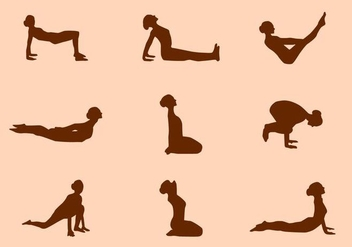 Silhouette of Yoga Pose Vectors - Free vector #421009