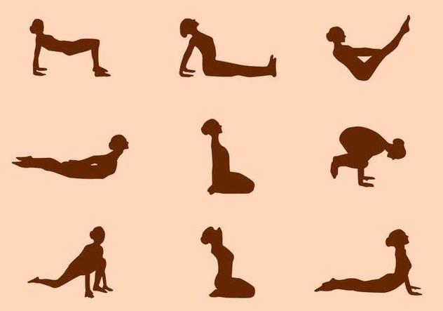 Silhouette of Yoga Pose Vectors - бесплатный vector #421009