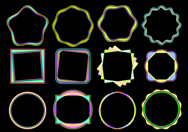 Colorful Funky Frames Free Vector - vector gratuit #421029