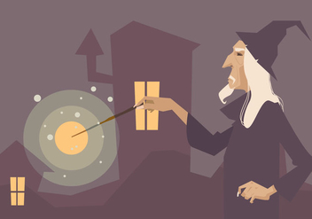 Wizard With His Magic Stick Vector - Kostenloses vector #421059