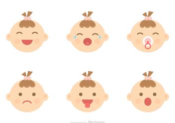 Baby Facial Expression Icons Vector - Free vector #421069