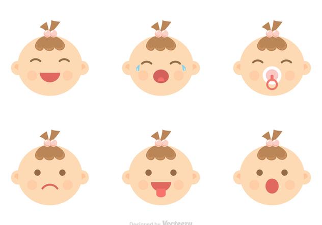 Baby Facial Expression Icons Vector - бесплатный vector #421069