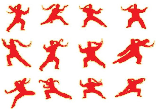 Free Silhouettes Wushu Pose Vector - vector gratuit #421099
