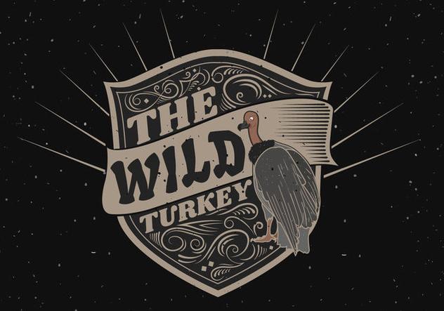 Wild turkey silhouette logo label illustration - бесплатный vector #421129