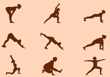 Silhouette of Yoga Pose Vectors - Free vector #421279