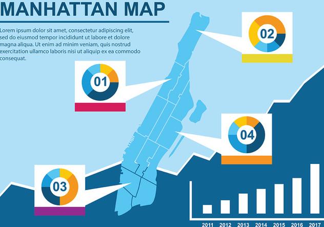 Infographic Manhattan Map Vector - Kostenloses vector #421459