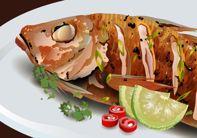 Fried Fish on Platter Vector - Kostenloses vector #421549