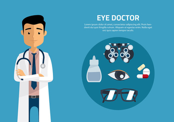 Eye Doctor Cartoon Vector - Free vector #421699