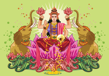 Vector Illustration of Goddess Lakshmi - vector gratuit #421819