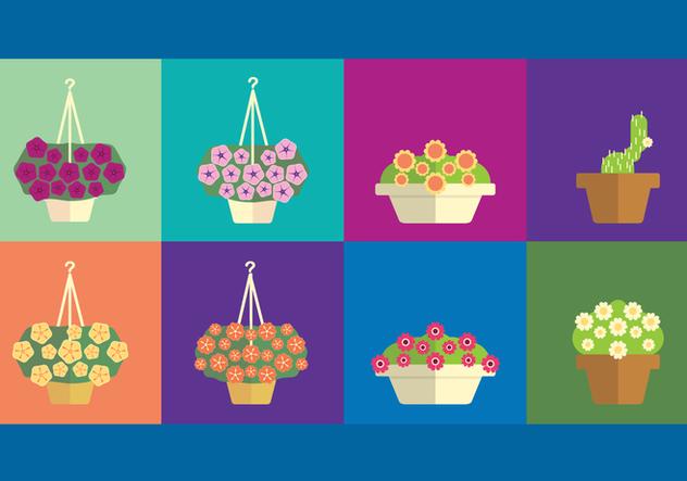 Outdoor Flowers In Flowerpots - Free vector #421919