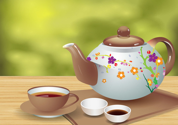 Realistic Tea Teapot And Cup Vector - vector #422049 gratis