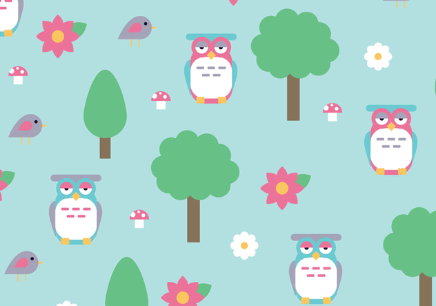 Natural Pattern with Trees and Buhos Vectors - Free vector #422089
