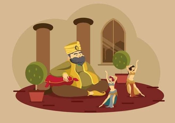Sultan with Belly Dancer Illustration - vector gratuit #422429