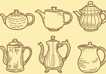 Sketchy Teapot Icons Vector - бесплатный vector #422549