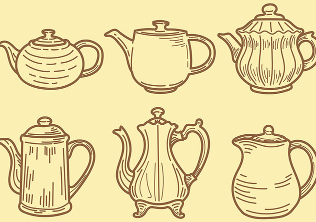 Sketchy Teapot Icons Vector - Free vector #422549