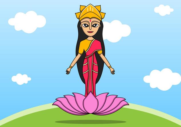 Indian Goddess Lakshmi on Lotus - vector #422589 gratis