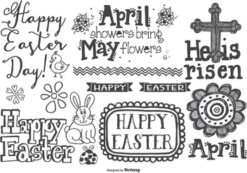 Cute Hand Drawn Style Easter Doodles - Free vector #422839