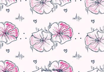 Hand Drawn Petunia Pattern Vector - бесплатный vector #422869