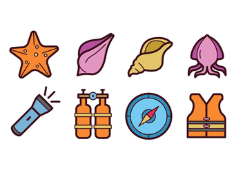 Diving Icon Set - vector #423149 gratis