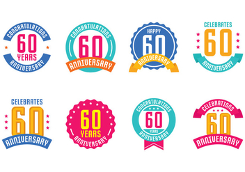 60th Anniversary Emblems - Free vector #423199