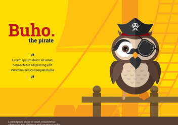 Buho Pirate Character Vector - Free vector #423869
