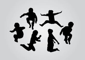 Jump Kids Silhouette Vectors - Free vector #424109