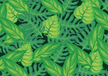 Tropical Leaves Background - бесплатный vector #424239