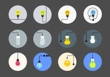 Flat Light Bulb Vector Collection - vector gratuit #424289