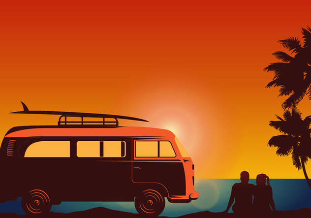 Surfer Couple with VW Style Van Vector - Free vector #424659
