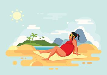 Sunbathing Woman on Beach Vector Illustration - Kostenloses vector #424669