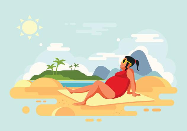 Sunbathing Woman on Beach Vector Illustration - Free vector #424669