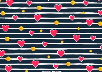 Vector Love Pattern With Hearts And Stripes - Kostenloses vector #425009