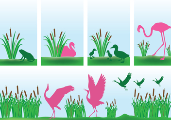 Cattails with Pink Birds Background Vectors - Free vector #425389