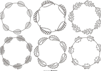 Sketchy Decorative Leaf Frames - бесплатный vector #425859