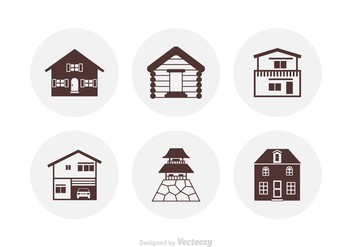 Silhouette Houses Vector Icons - Free vector #425989