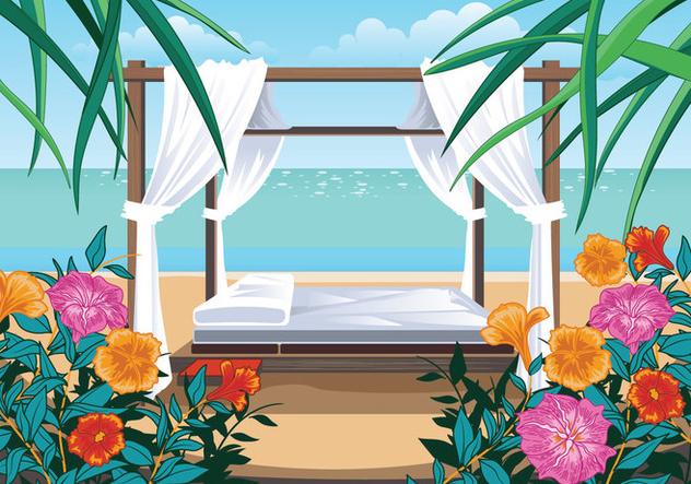 A Beautiful Beach and Cabana - Free vector #426519
