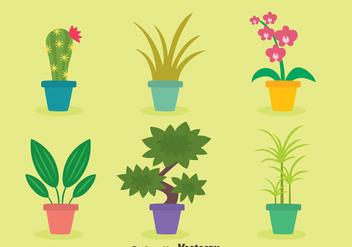 Flat Houseplant Vectors - Free vector #426589