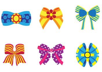 Six Bright Hair Ribbon Vectors - Free vector #426649