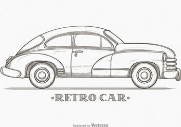 Hand Drawn Sketch Retro Car Vector - Free vector #426699