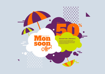 Monsoon Discount Vector Banner - Free vector #426849