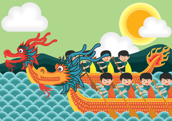 Dragon Boat Festival Illustration - vector gratuit #427129